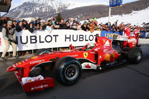 Hublot and Ferrari getting ready for the snow demo