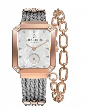 CHARRIOL Lady ST-TROPEZ Mansart Rose Gold with 8 diamonds